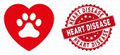 Vector Dog Love Heart Icon And Rubber Round Stamp Seal With Heart Disease Text. Flat Dog Love Heart  poster