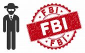 Vector Security Agent Icon And Grunge Round Stamp Seal With Fbi Text. Flat Security Agent Icon Is Is poster