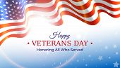 Happy Veterans Day Banner. Waving American Flag On Blue Sky Background With Stars. Us National Day N poster