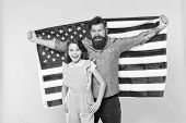 Patriotic Fourth Of July. Patriotic Family Celebrating Independence Day. Bearded Man And Small Child poster