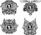 pic of cameos  - Set of decorative antique cameos with wings and woman portrait in profile - JPG