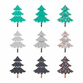 Christmas, New Year Vector Clipart. Hand Drawn Flat Christmas Trees. Colorful Clipart. Design Elemen poster