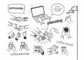 Set Of Hand Drawn Business Concepts: Planning, Time Management, Teamwork, Online Service. Hand Drawn poster