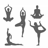 Set Symbols Yoga Poses. Women Silhouettes In Different Poses Yoga.  Isolated Gray Signs On White Bac poster