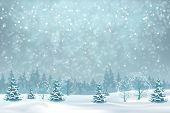 Winter Forest And Snow Drifts In A Frosty Haze. Vector Winter Snowy Landscape. Christmas Background  poster