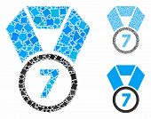 7th Place Medal Mosaic Of Tuberous Items In Various Sizes And Shades, Based On 7th Place Medal Icon. poster