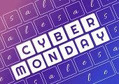 Cyber Monday. Cyber Monday Of Keyboard Lettering . poster
