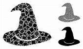 Hat Mosaic Of Tuberous Parts In Various Sizes And Color Tones, Based On Hat Icon. Vector Tuberous Pa poster