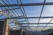 Structure Of Steel Used To Build Accommodation. Steel Structure Of The House On Sky Background. Hous poster