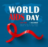 World Aids Day Banner With Red Ribbon.stop Aids. Awareness.vector Illustration poster