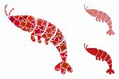 Shrimp Mosaic Of Tremulant Pieces In Various Sizes And Color Tints, Based On Shrimp Icon. Vector Jog poster