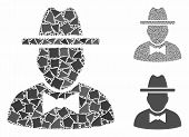 Spy Mosaic Of Trembly Pieces In Variable Sizes And Shades, Based On Spy Icon. Vector Trembly Element poster