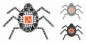 Spy Bug Mosaic Of Joggly Items In Variable Sizes And Color Tints, Based On Spy Bug Icon. Vector Unev poster