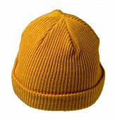Docker Knitted Dark Yellow Hat Isolated On White Background. Fashionable Rapper Hat. Hat Fisherman B poster