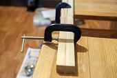 Clamp Bonded Wood Bars, Work In The Home Workshop, Diy Making From Wood, Bonding Blanks poster