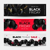 Black Friday Sale Horizontal Banners Set. Flying Glossy Balloons On White And Red Background. Fallin poster