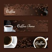 Coffee Background. Realistic Coffee Top View, Vector White Cup Of Drink. Roasted Beans. Cafe Bar Res poster