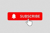 Subscribe Red Button With Bell And Hand Clicking Cursor. Subscribe Button With Bell And Pointer. Soc poster