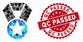 Collage Champion Medal And Grunge Stamp Seal With Qc Passed Phrase. Mosaic Vector Is Designed With C poster