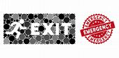 Mosaic Emergency Exit And Rubber Stamp Seal With Emergency Caption. Mosaic Vector Is Composed With E poster