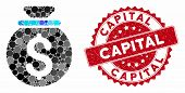 Mosaic Money Bag And Rubber Stamp Watermark With Capital Text. Mosaic Vector Is Designed With Money  poster