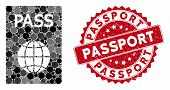 Mosaic Passport And Grunge Stamp Seal With Passport Text. Mosaic Vector Is Formed With Passport Icon poster