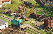 image of railcar  - Train crane railcar - JPG