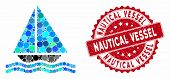 Mosaic Yacht And Rubber Stamp Seal With Nautical Vessel Caption. Mosaic Vector Is Designed With Yach poster