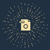 Beige Raw File Document. Download Raw Button Icon Isolated On Dark Blue Background. Raw File Symbol. poster