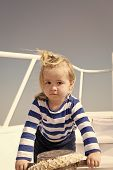 Baby Boy Enjoy Vacation Sea Cruise Ship. Child Sailor. Boy Sailor Travelling Sea. Boy Sailor Striped poster