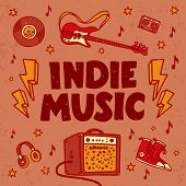 Indie Music Festival Poster Or Flyer Template. Illustration Of Music Related Objects Such As Guitar, poster