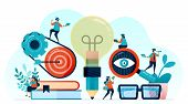 Vector Illustration Of Idea And Inspiration In Student Learning, Pencil With Lightbulb Idea, Learn T poster