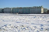 Winter Palace And Frozen Neva River