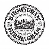 foto of west midlands  - Black grunge rubber stamp with the name of Birmingham city from England written inside the stamp - JPG