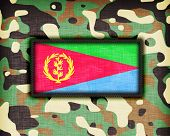 stock photo of ami  - Amy camouflage uniform with flag on it Eritrea - JPG