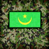 picture of ami  - Amy camouflage uniform with flag on it Mauritania - JPG