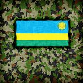 picture of ami  - Amy camouflage uniform with flag on it Rwanda - JPG
