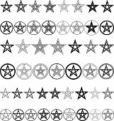 stock photo of pentagram  - set of a pentagrams  - JPG