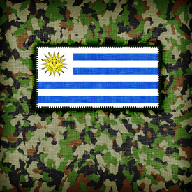stock photo of ami  - Amy camouflage uniform with flag on it Uruguay - JPG