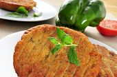 pic of veggie burger  - closeup of some veggie burgers in a plate on a table - JPG