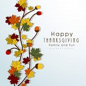 Happy Thanksgiving Day concept with beautiful autumn leaves, can be use as flyer, banner or poster.