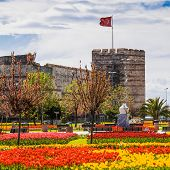 picture of constantinople  - The ancient walls of Constantinople, during the Tulip Festival in Istanbul, Turkey. ** Note: Slight blurriness, best at smaller sizes - JPG