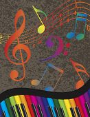 picture of rainbow piano  - Wavy Abstract Piano Keyboard with Rainbow Colors Keys and Musical Notes Textured Background Illustration - JPG