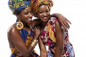 stock photo of traditional dress  - Young beautiful African fashion models in traditional dress - JPG