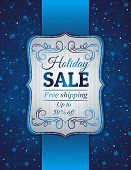 Blue Christmas Background And Label With Sale Offer, Vector
