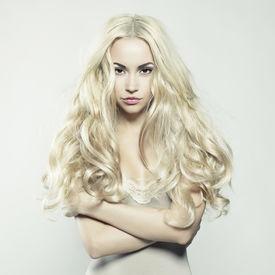 image of posh  - Fashion portrait of young beautiful woman - JPG
