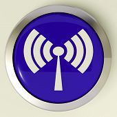 Wifi Button Shows Wireless Internet Access Transmitter