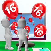 Number 16 Balloons From Monitor Show Online Invitation Or Celebration