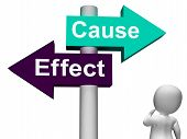 stock photo of reaction  - Cause Effect Signpost Meaning Consequence Action Or Reaction - JPG