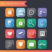 foto of justice law  - Flat Law Legal Justice Icons and symbols Vector Illustration - JPG